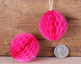 "Teeny Pink Honeycomb Balls, 2"" Honeycomb Ball, Pink Wedding Decorations, Hot Pink Honeycomb Ball, Pink Honeycomb Ball Straw Topper (6 ct)"