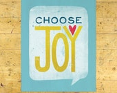 Choose Joy Art Print | Encouragement Art Print | Hand Lettered | Blue | 8x10 | Made in the USA | AP 009