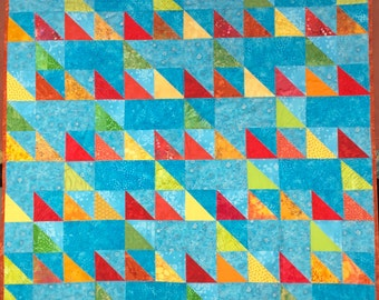 Modern Baby Blanket Quilt, Toddler Quilt, Couch Throw, Red Yellow Orange Blue