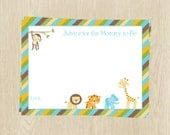 Baby Shower Advice Cards, Jungle Safari Neutral, Green, Brown, Yellow, Set of 24 Printed Cards, FREE Shipping, WWEGN, Wild With Excitement