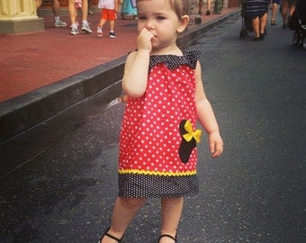 Disney Minnie Mouse Inspired Baby Toddler Dress - Ruffled One Shoulder Dress - Brother Shirt Available -Great for Disney Trips and Birthdays