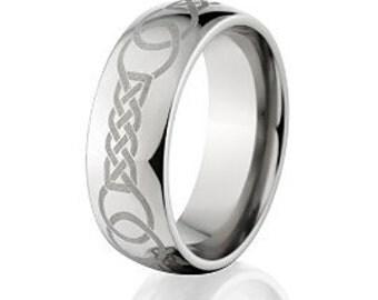 Custom Lasered Celtic Ring Made In Titanium; Celtic Wedding Bands Hand Crafted Titanium Rings : 8HR-C7L