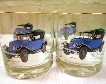 Vintage Mid Century Renault Drinking Glasses Set of Four