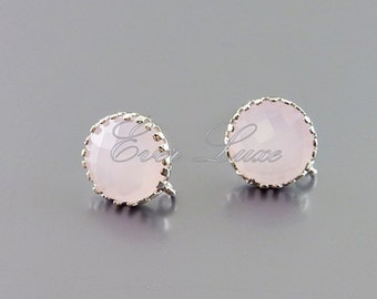 2 pink ice round glass stone stud earrings, post earrings, bridal earring jewelry supplies 5126R-PI (bright silver, pink ice, 2 pieces)