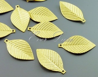 4 textured leaf charms, jewelry / jewellery making supplies, necklace, bracelet charms, craft supplies 1061-MG (matte gold, 4 pieces)