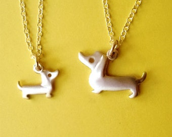 Dachshund Necklaces Dog Necklaces Mother and Child sterling silver mom jewelry family necklace summer graduation day