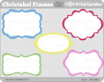 Christabel Frames - Personal and Commercial Use - digital clipart clip art label modern sweet pretty