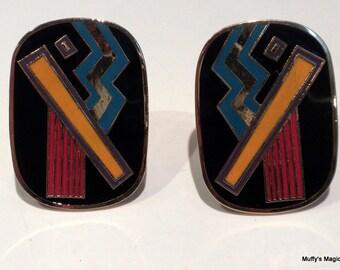 Laurel Burch Clip Earrings Izu Abstract Modern Design