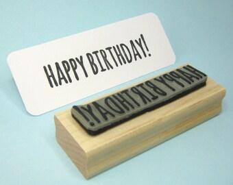 Happy Birthday Sentiment Text Rubber Stamp
