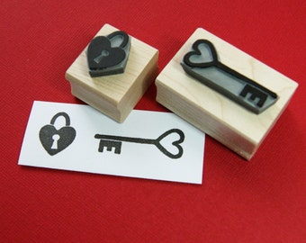 Love Lock and Key Rubber Stamp Set - Heart Rubber Stamp - Wedding Rubber Stamp - Handmade Wedding - Romantic Gift - DIY Wedding Stationery