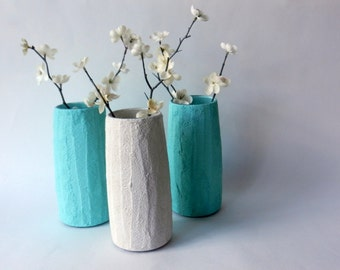 Trio of Vases / Instant collection / Mint Home Decor / made to order/ set of 3 / mint and white vases