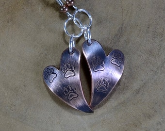 Copper Heart Shaped Dangle Earrings with Paw Prints