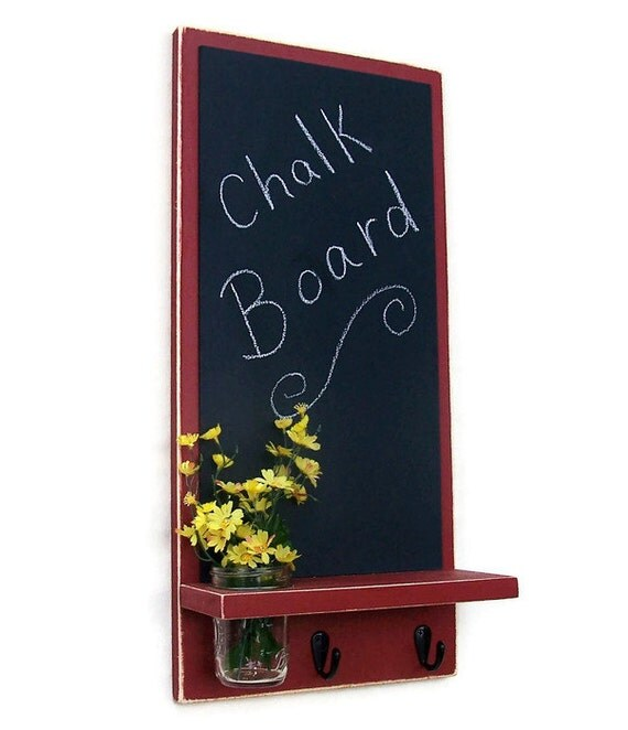 Chalkboard with Mason Jar, Shelf, Key Hooks, Painted Wood, Jar Holder