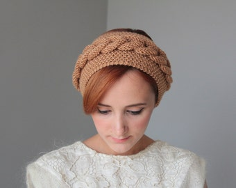 Caramel Braided Knitted Headband