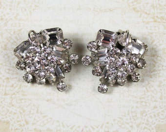 Vintage 1950s Clear Rhinestone Cluster Two Tiered Silver Clip On Earrings