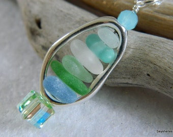 Framed Sea Glass Silver Stacked Pendant Necklace