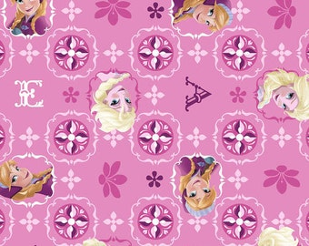 SALE, LAST yard,  Creative Springs, Elsa And Ana Pink Frozen fabric with Metallic, 1 yard