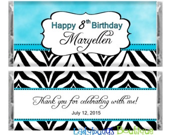 Sky Blue Teal Clouds Zebra Happy Birthday Sweet Sixteen Candy Bar Wrapper Party Favor