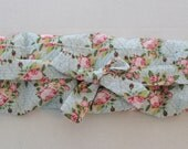 Pocket Rice Bag with Pink Roses on a Light Blue Background