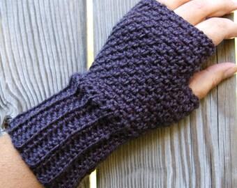 Fingerless Gloves, Fingerless Mittens, Crochet Arm Warmers, Driving Gloves in Charcoal Grey