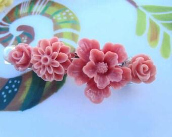 Dust Pink  flower sakura, mum, rose French Barrettes 2pcs choose your own flower