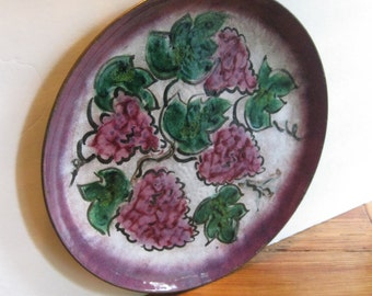 Vintage Copper Enamel Platter/ Tray/ Purple Grapes/ Handpainted