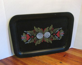 Vintage Primitive Tole Painted Serving Tray