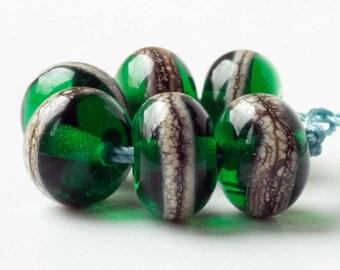 Handmade Lampwork Spacer Beads, Emerald Green Glass Accent Bead Set