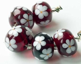 Garnet Red Daisy Lampwork Beads