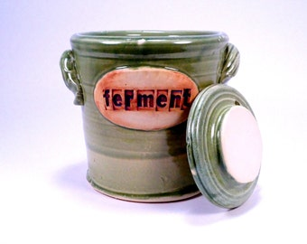 fermentation & pickling crock . ceramic pottery jar  for sauerkraut or kimchi in moss green