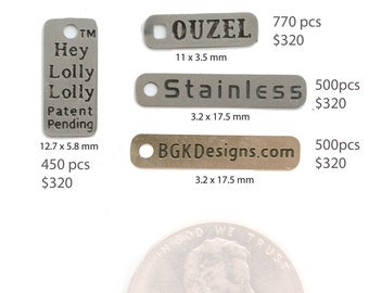 Customized Stainless Steel Metal Tags for Jewelry or Crafts