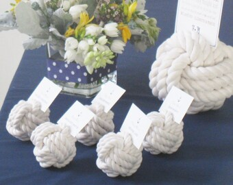 Nautical Wedding Mini Monkey Fist Rope Table Number of Place Card Holder Pack of 10