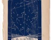 1891 december celestial print original antique astronomy sky chart lithograph - western map for december