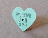 Mint Wedding Favor Stickers Small Mint Heart Stickers Custom Stickers Mint Save the Date Stickers