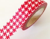 RED Girls Houndstooth Plaid Washi Tape 15mm Christmas Holiday Masking Tape Single - PrettyTape