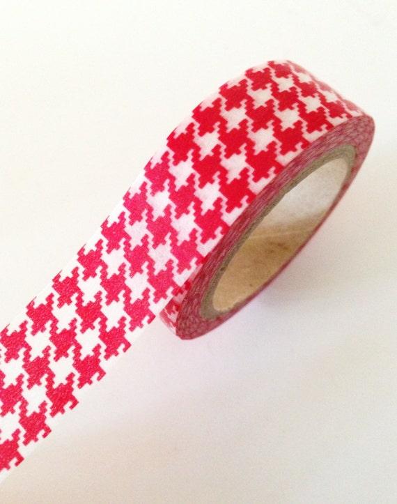 RED Girls Houndstooth Plaid Washi Tape 15mm Christmas Holiday Masking Tape Single - PrettyTape