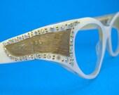 Vintage Mother Of Pearl Cateye Eyeglasses Eyewear with Rhinestones Frame