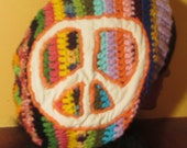 Psychedelic Multi color peace sign slouch beanie hat