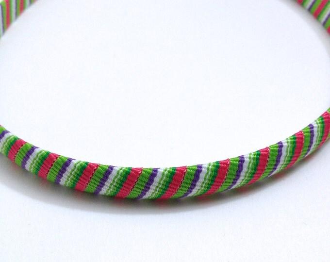 Pink, Green, Purple Stripes Headband - Handmade To Order