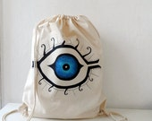Cotton Backpack, Mystic Eye  Printed Drawstring bag, tote