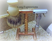 Copper Razor and Brush Stand gift for Fathers Day, Graduation or Birthday Gift for Him
