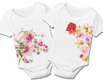 Baby Girl Floral Organic Cotton Twins Bodysuit Gift Set