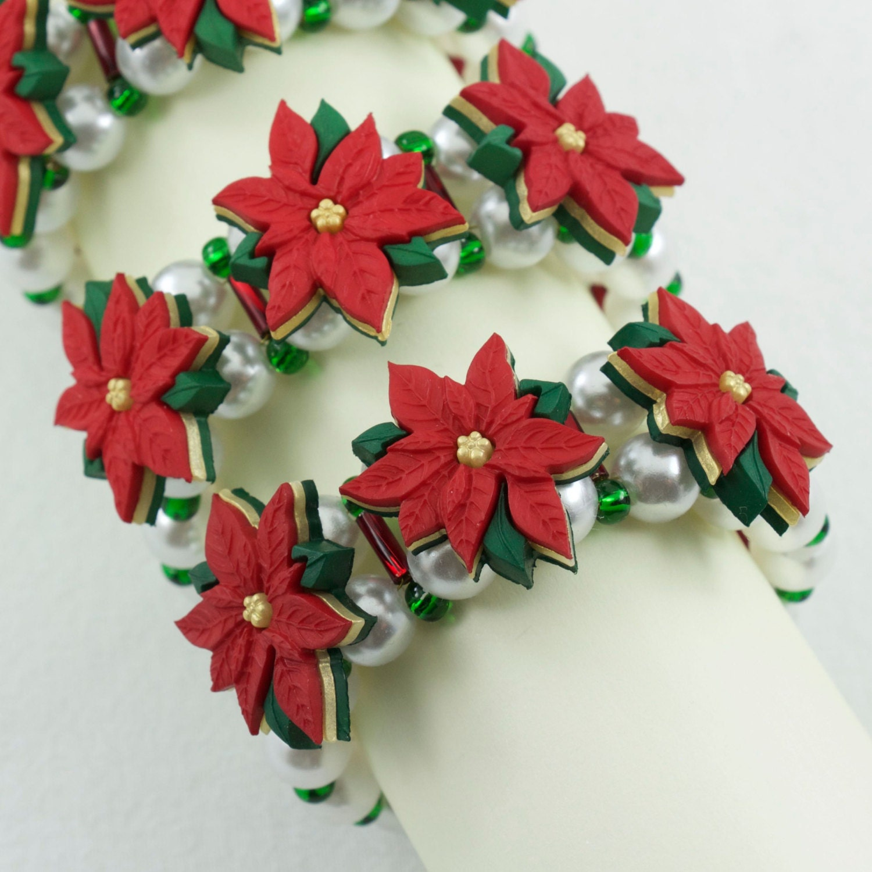 Christmas Napkin Rings Poinsettia Handmade Napkin Holder