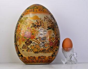 Vintage Large Satsuma Egg Hand Painted Floral Egg Gold Relief Giant Egg