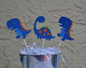 Dinosaurs in blue, orange and green boys party  cupcake toppers set of 12