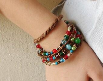 Colorful bracelet Cuff Beaded Bracelet Boho Multistrand statement bracelet