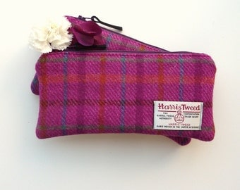 HARRIS TWEED Pencil Case Zippered Pouch deep pink plaid
