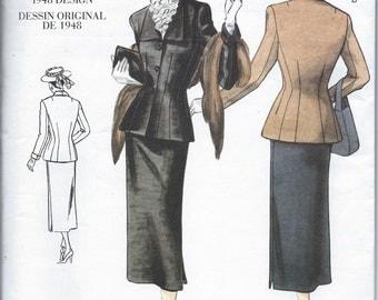 "Vogue No. 2339 : Re-Issue of 1948 Women's 2 Piece Dress Suit  Bust 34"" - 38"""