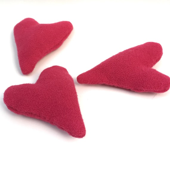 Pink Pendleton Wool Catnip Heart Cat Toy. Cat Lover Gift.