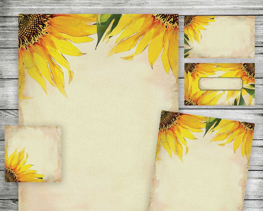 Printable Sunflower Papers Use as Wedding Invitation Kit – Sunflower Wedding Invitations Kits